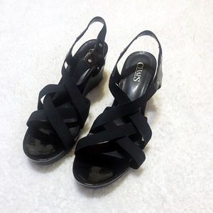 Chaps black wedge sandals heels size 9.5
